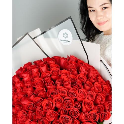 Купить на заказ Букет из 101 красной розы с доставкой в Сатпаеве