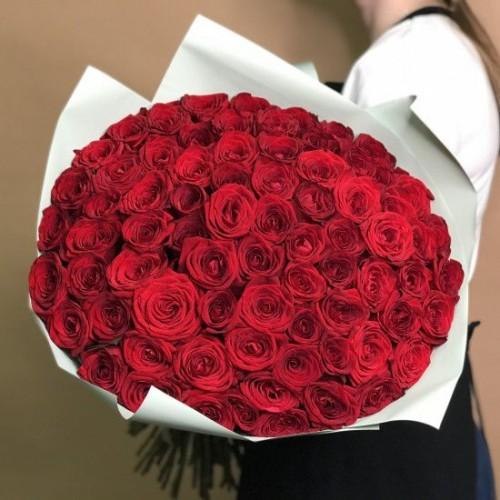 Купить на заказ Букет из 75 красных роз с доставкой в Сатпаеве