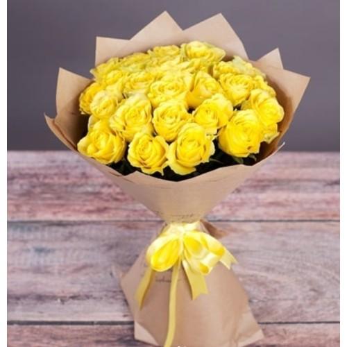 Купить на заказ Букет из желтых роз с доставкой в Сатпаеве