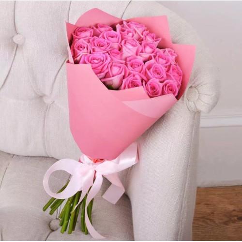 Купить на заказ Букет из 21 розовой розы с доставкой в Сатпаеве