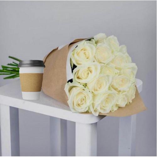 Купить на заказ Кофе с цветами с доставкой в Сатпаеве