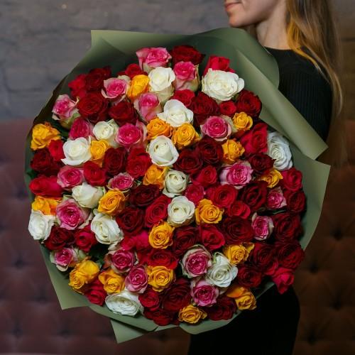 Купить на заказ Букет из 101 розы (микс) с доставкой в Сатпаеве
